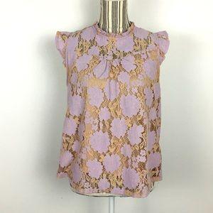 Monteau grey/pink crochet lace blouse Sz XL